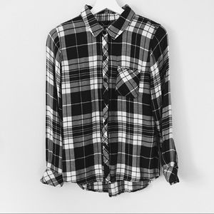 Rails Hunter Black and White Plaid Button Down SzS